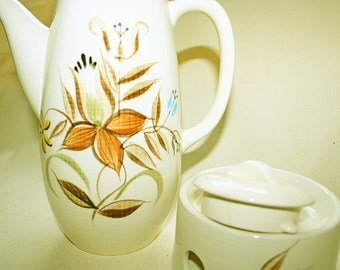 Vintage Romany Kanedai Coffee or Tea Serving Pot with Lid and Warmer Ceramic Hand Painted