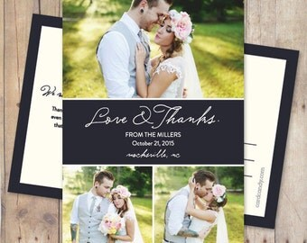 Three Photo Wedding Thank You Card or Magnet - Ribbon