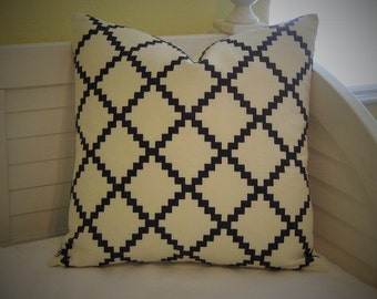 LULU DK Reverse Chant Print in Charcoal (Black) and Cream Linen Designer Pillow Cover - Square, Euro and Lumbar Pillow Cover