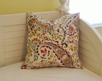 Thom Filicia for Kravet Tousey in Quarry Paisley Designer Pillow Cover- Square, Lumbar, Euro and Body Pillow Cover