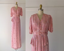 vintage 1930s peignoir set / 30s lingerie / robe and nightgown