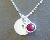Hand Stamped Personalized Birthstone Silver Initial Pendant Necklace Christmas Bridesmaid Gift
