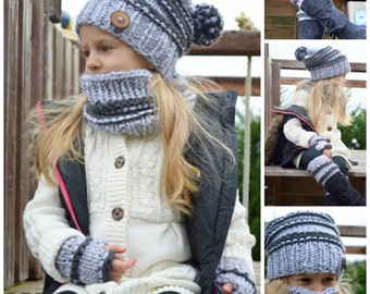Knitting pattern. Set of Venice Slouchy hat, cowl, fingerless mittens and legwarmers.Toddler, child, adult sizes.(037, 038, 039, 041))