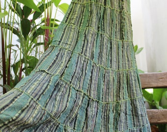 Woven Dyed Cotton Long Tiered Skirt - BB0914-4