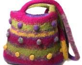 Felted Wool shoulder Bag Rainbow colours uk