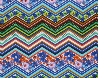 SPECIAL--Colorful ZigZag Floral Print Pure Cotton Fabric--One Yard
