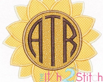"Sunflower Monogram Applique For Machine Embroidery Hoop Sizes 4x4, 5x7 & 6x10(""Natural Circle"" font not included) INSTANT DOWNLOAD available"