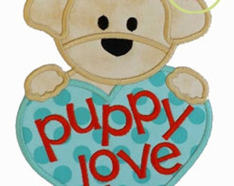 Puppy Love Boy Applique Design In Hoop Size(s) 4x4, 5x7, and 6x10 INSTANT DOWNLOAD now available