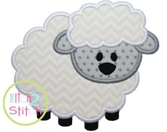 """Lamb Applique Design Hoop Size 4x4, 5x5, 6x6 and 7x7 Shown with our """"Patty Whack"""" Font NOT Included INSTANT DOWNLOAD now available"""