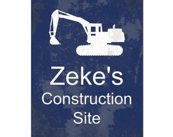 Custom Construction Site Art Print, Typography, Kids Furniture and Decor, Boys Room, Excavator, Digger, Cement Mixer, Tractor, Dump Truck