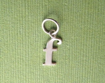 Sterling Silver Alphabet Letter f  Initial Charm in Typewriter Style