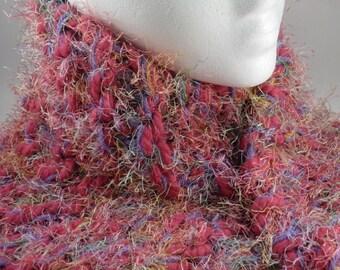Pink Rainbow Fuzzy Super Soft & Chunky Knit Scarf OOAK