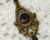Burgandy Bindi in Oxidized Brass