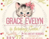 Vintage Kitty Cat Birthday Party Invitation ~ Little Girls Invite ~ Personalized ~ kitten ~ pink ~ gold ~ peach ~ polka dots