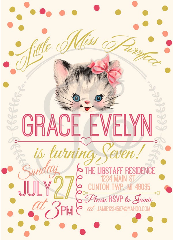 kitty cat birthday party invitation little girls invite. Black Bedroom Furniture Sets. Home Design Ideas