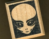 Alien Face Rubber Stamp, by Talon Stamps