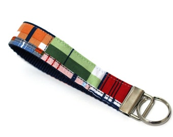 Tommy Boy Nautical Plaid Key Fob, Wristlet Key Chain, Wrist Key Strap