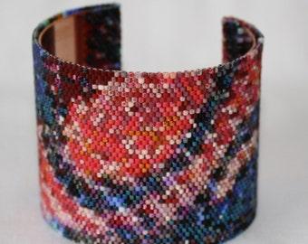 Red Orange Ultramarine Blue Salmon Snake Skin Cuff Bracelet