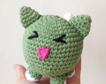 Crochet Cat Green Amigurumi Round Kitty Copy