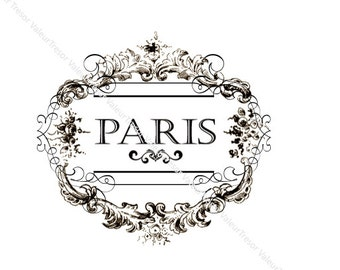 Vintage Chic Typography Paris Label.  Downloadable File.