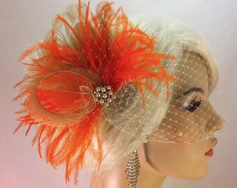 Bridal Feather Fascinator, Wedding Veil Swarovski Pearl, Rhinestone Edge, Wedding Fascinator, Feather Fascinator, Ivory and Orange