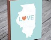 Illinois Love - Wood Block Art Print