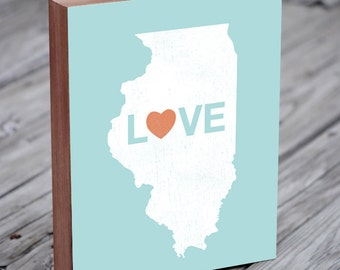 Illinois Love - Wood Block Art Print