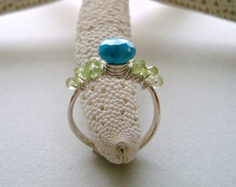 Sleeping Beauty Turquoise Ring, Turquoise Wire Ring, Adjustable Wire Wrapped Ring, Peridot Ring, Blue Green Gemstone Ring