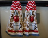 Chevron coffee date hanging kitchen towel set (2 towels) - ready to ship