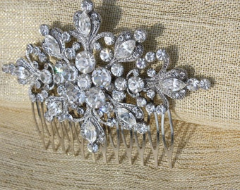 swarovski crystal clear rhinestone art deco silver bridal hair comb wedding headpiece hair accessories for bride vintage inspired bridesmaid