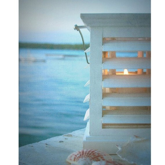 "Beach Photography, Fine Art Photography, Coastal Home Decor, Blue, Wall Art, 8x10 Print, Shabby Chic, ""Cottage Light"""