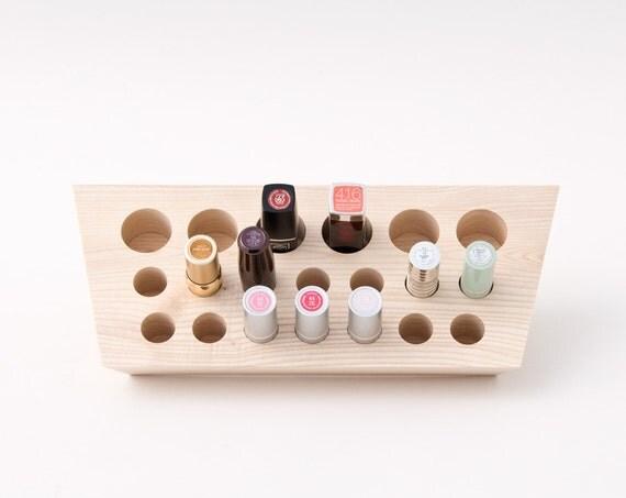 Lipstick Holder Lipstick Organizer Natural Wood Makeup - Cosmetic makeup organizer wood countertop organizer by lessandmore