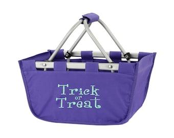 SHIPS NEXT DAY---Monogrammed Reusable Mini Market Tote Basket Purple Halloween--Free Monogramming--