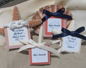 Nautical Beach Wedding Sea Inspired Favors Place Cards Table Numbers/ Cape Cod/ Starfish Seashells Scallop/ Red White Blue/ Sailors Knot