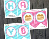Pancakes and Pajamas Birthday Banner - INSTANT DOWNLOAD