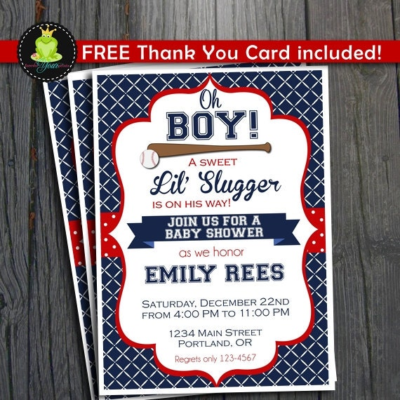 Baseball Baby Shower Invitation / Baseball By