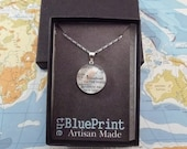 Map Pendant, You Choose the Special Place in th Heart, Sterling Silver