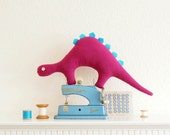 Pink & Bright Blue Stegosaurus Dinosaur Plush Toy
