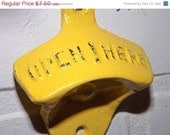 SPRING FEVER SALE Yellow Bottle Opener / Cast Iron /Vintage Inspired / Mancave /Kitchen Decor / / Shabby Chic Decor / Kitchen Wall Art / Kit