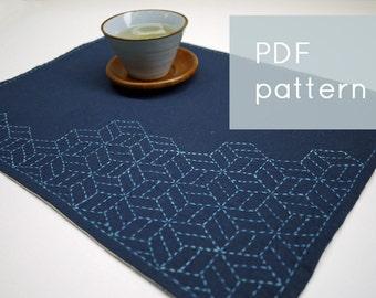PDF sashiko pattern - - stacking cubes - - modern embroidery