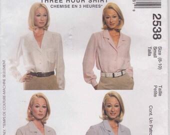 Dress Shirt Pattern  Long Sleeve Dress Pattern Misses Size 8 - 10  McCalls 2538 Three Hour Pattern