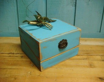 Turquoise Jewelry Wooden Wood Box by CastawaysHall