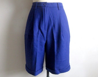 Vintage 1990s Wool Shorts United Colors of Benetton Purple Cuff Shorts 40 USA8