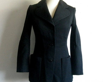 Vintage 1960s Blazer Black Fitted Wool Jersey Jacket XS