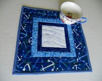 Beach House Blue Quilted Table Topper, Mini Quilt, Mug Rug Mug Mat, Ocean Theme, Nautical,  Seaside