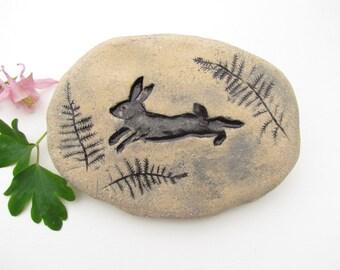 Bunny Rabbit garden stone, sculpted clay garden decoration. Bunny ceramic tile, rock, memorial. Natural beige / off white terracotta.
