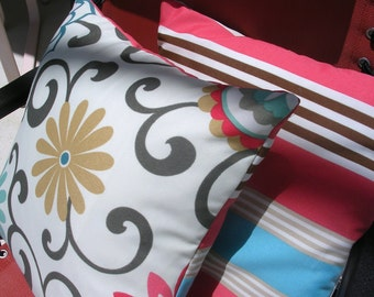 Pair Of Designer  Accent Pillow Covers, Waverly Outdoor Fabric, 18 x 18 inches, Coral, Turquoise, Tan, Brown