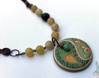 Paisley delight - necklace in soft greens and yellows with gemstones, handmade ceramic and leather