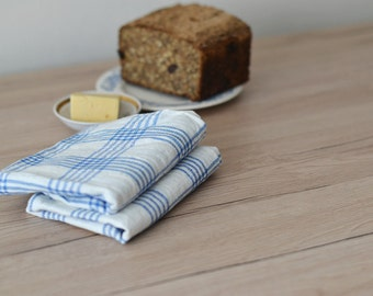 Checked Tea Towel, Tartan Linen Towels, Plaid Hand Towels White With Blue Towels