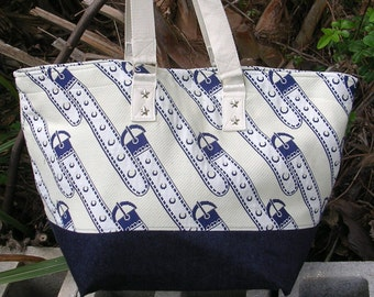 Super Travel Tote, Navy, Natural and Off-White